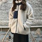 ボアジャケットジャケットレディースアウターボアもこもこふわふわジップおしゃれ2018秋冬新作M/L送料無料