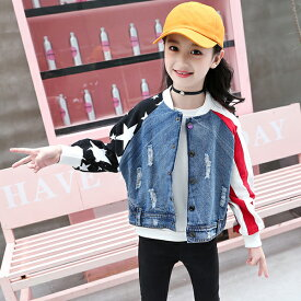 c2fdfbd1151ac デニムジャケット キッズ ジャケット ドッキング風 デニムジャケット ブルゾン 女の子 男の子 ジージャン デニム ダメージ クラッシュ G