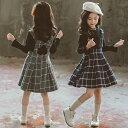 ジャンパースカート 女の子 スカートセット チェック柄 フレアスカート ミディアム トップス 子供服 ギンガムチェック…