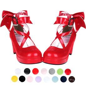 ロリータ靴 リボン シンプル定番ロリータパンプス ヒール6.5cm ロリータ 靴 ハートヒールパンプス ストリート ロリータジーンズ ストラップパンプス お嬢様 シューズ 女の子靴 シューズ 女の子靴 ロリ姫靴 ロリータ靴 ロリータファッションお茶会 通勤 通学 送料無料
