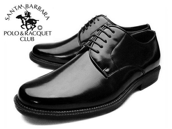 【 サマー セール 】 SANTA BARBARA POLO&RACQUET CLUB(サンタバーバラ ポロ&ラケットクラブ)メンズ ビジネスシューズ プレーントゥ ラウンドトゥ革靴 紳士靴 ブラック 黒 polo-1121 就活 靴 くつ