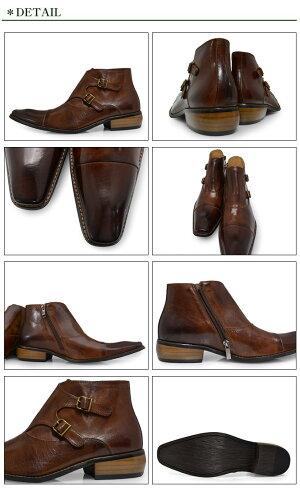 【期間限定ポイント5倍10/520時まで】BumpN'GRIND2804CAMELバンプアンドグラインドメンズダブルモンクブーツサイドジップ本革ロングノーズビジネスシューズ革靴紳士靴キャメルBG-2804CAMELドレスシューズ