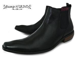 BumpN'GRIND2819BLACKバンプアンドグラインドメンズサイドゴアブーツ本革ロングノーズビジネスシューズ革靴紳士靴茶キャメルBG-2819BLACKドレスシューズ