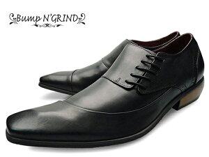 BumpN'GRIND(バンプアンドグラインド)BG-6001BLACKメンズ本革ビジネスシューズサイドシューレース革靴紳士靴黒ブラック【送料無料】