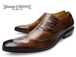BumpN'GRIND(バンプアンドグラインド)BG-6001CAMELメンズ本革ビジネスシューズサイドシューレース革靴紳士靴茶キャメル【送料無料】