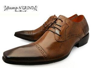 BumpN'GRIND(バンプアンドグラインド)bg-6021CAMELメンズビジネスシューズロングノーズ本革ドレスシューズスクエアトゥ革靴紳士靴キャメル【送料無料】【RCP】