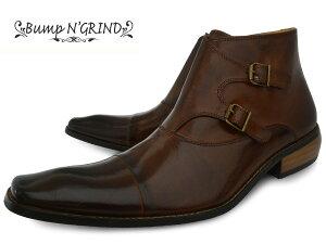 BumpN'GRIND2804BLACKバンプアンドグラインドメンズダブルモンクブーツサイドジップ本革ロングノーズビジネスシューズ革靴紳士靴ブラックBG-2804BLACKドレスシューズ