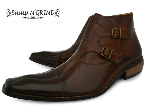 Bump N' GRIND 2804 CAMEL バンプ アンド グラインド メンズ ダブルモンク ブーツ サイドジップ 本革 ロングノーズ ビジネスシューズ 革靴 紳士靴 キャメル BG-2804 CAMEL ドレスシューズ