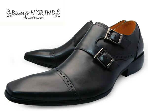 【 サマー セール ポッキリ 】 Bump N' GRIND バンプ アンド グラインド メンズ ビジネスシューズ 本革 ロングノーズ ダブルモンク スクエアトゥ 革靴 紳士靴 ブラック BG-6022 BLACK ドレスシューズ 就活 靴 くつ