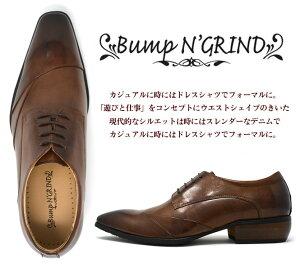 BumpN'GRINDバンプアンドグラインドメンズビジネスシューズ本革ロングノーズスクエアトゥ紐革靴紳士靴キャメルBG-6050CAMELドレスシューズ送料無料就活靴くつ