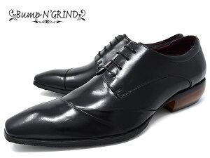 BumpN'GRINDバンプアンドグラインドメンズビジネスシューズ本革ロングノーズスクエアトゥ紐革靴紳士靴ブラックBG-6050BLACKドレスシューズ送料無料就活靴くつ