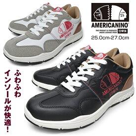 【 在庫処分セール 】 メンズ スニーカー ローカット 軽量 カジュアルシューズ 靴 くつ ブランド AMERICANINO EDWIN AE891 WHITE BLACK アメリカニーノ エドウィン 合成皮革 かっこいい おしゃれ