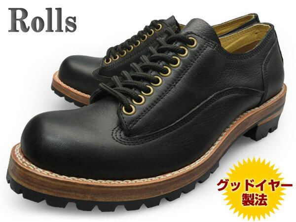 【 ロンプしゅ〜パー SALE 目玉商品 】 Rolls (ロールズ) 1974 BLACK メンズ レザーシューズ ブラック グッドイヤー製法本革使用 ビブラムソール Vibram【送料無料】 靴 くつ