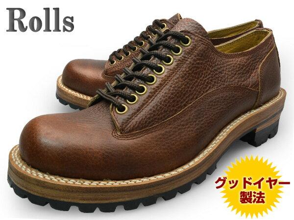 【 ロンプしゅ〜パー SALE 目玉商品 】 Rolls (ロールズ) 1974 BROWN メンズ レザーシューズ ブラウン グッドイヤー製法本革使用 ビブラムソール Vibram【送料無料】 靴 くつ