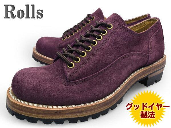 【 ロンプしゅ〜パー SALE 目玉商品 】 Rolls (ロールズ) 1974 WINE メンズ レザーシューズ ワイン グッドイヤー製法本革使用 ビブラムソール Vibram【送料無料】 靴 くつ