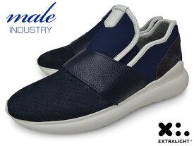メンズ スニーカー 本革 スリッポン ブランド MALE INDUSTRY イタリア BLUE ブルー 青 パンチング EXTRALIGHT SOLE エクストラライトソール