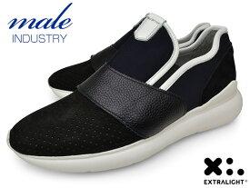 メンズ スニーカー 本革 スリッポン ブランド MALE INDUSTRY イタリア BLACK ブラック 黒 パンチング EXTRALIGHT SOLE エクストラライトソール