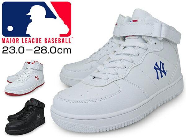 ミッドカット スニーカー メンズ レディース ユニセックス BLACK WHITE ブランド MLB メジャーリーグ NY NEWYORK ニューヨーク