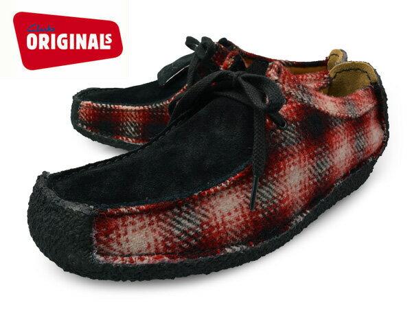 CLARKS NATALIE WOOLRICH 20355879 RED COMBI UK規格 クラークス ナタリー ウールリッチ コラボ レッドコンビ レディース クラークス スエード クラークス スウェード ブーツ シューズ 赤 チェック 靴 送料無料 あす楽