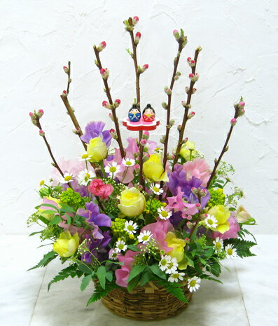 【送料無料!桃の花 ひな祭りアレンジA3】【生花アレンジメント】【誕生日】【お祝】【記念日】【フラワーギフト】