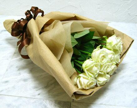 【白バラ10本を花束にして】【生花】【花束】【誕生日】【お祝い】【記念日】【フラワーギフト】【バラ】