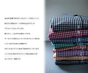 【s&nd(セカンド)】【送料無料】S&NDギンガムチェックボタンダウンシャツ/sd-100502/人気/ギンガムチェックシャツ/レディース/長袖/Sサイズ/Mサイズ/カバ