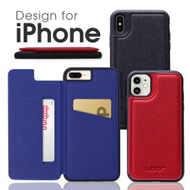 【背面カード収納】 LOOF iPhone 12 ケース iPhone 11 Pro Max カバー iPhone12 mini SE 第二世代 2020 SE2 手帳型ケース 背面カード収納 背面 iPhoneX Xs Max XR スマホケース iPhone8 iPhone7 Plus iPhone6 6s Plus 手帳型カバー 携帯ケース ベルトなし カード収納