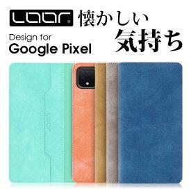 LOOF Vintage Google Pixel 4 XL 手帳型 カバー Pixel4 XL ケース Pixel3a 手帳型ケース Pixel3 手帳型カバー 右利き 左利き ブック型 グーグル ピクセル スマホケース ベルト無し カードポケット スタンド シンプル 蓋ピタ