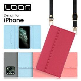 LOOF Strap iPhone 11 Pro Max ケース クラッチバッグ風 ストラップ XR スマホカバー iPhoneXS スマホケース XSMax カバー 7Plus 6Plus 6sPlus 8Plus iPhoneケース iPhoneカバー ネックストラップ 首かけ 肩掛け シンプル カードポケット