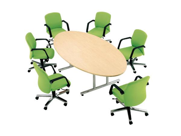 会議テーブル タマゴ型 楕円形 円卓 丸形 WT-2412E 送料無料 LOOKIT オフィス家具 インテリア