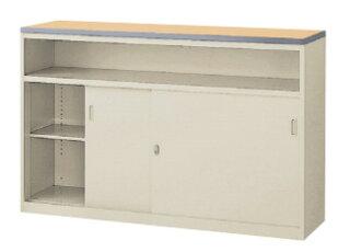 ハイカウンターNSH-15U鍵付受付カウンター棚付引戸書庫収納庫保管庫キャビネットロッカー