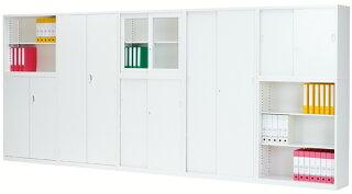 両開き書庫ホワイト鍵付きキャビネット棚ALZ-H34