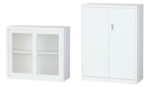 両開き書庫ガラス引戸書庫上下セット日本製引き違い書庫キャビネットスチール書庫引違い書庫ガラス戸ホワイトオフィス収納ALZ-G32S1