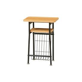 サイドテーブル ケティルシリーズ 木製家具 つくえ 飾り台 棚付き おしゃれ シンプル 北欧モダン スチールフレーム ナチュラル リビング家具 KTL-SD40