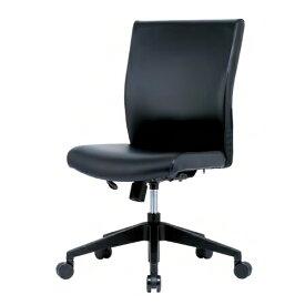 【法人限定】 エグゼクティブチェア 樹脂脚 肘なし オフィスチェア 会議室 応接室 PVCレザー張り キャスター付きチェア チェア イス ブラック ERA-17