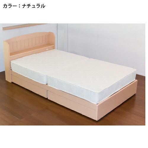 収納付きベッドシングル棚付ベッドマットレスベッド棚引き出し付き収納カントリー調宮付コンセント付マットレス付きダブルA322D