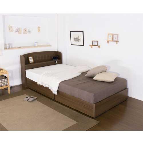 収納付きベッドシングル棚付ベッドマットレスベッド棚引き出し付き収納カントリー調宮付コンセント付マットレス付きダブルA322Dルキットオフィス家具インテリア