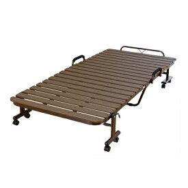 折りたたみベッド 折りたたみすのこベッド キャスター付きベッド シングルベッド ベッドフレーム 抗菌樹脂 寝具 ベッド ホワイト ブラウン DCSH-50