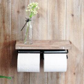 トイレットペーパーホルダー 2連 おしゃれ アンティーク 棚付き トイレ収納 木製 壁掛け 収納 ストッカー 紙巻器 シック ナチュラル シェルフ 送料無料 41-021
