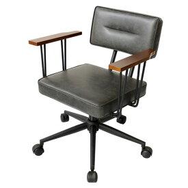 オフィスチェア【FIVE-ファイブ-】 オフィスチェアー 肘掛け チェア 椅子 いす イス デスクチェア パソコンチェア おしゃれ レトロ ブラック 送料無料 42-524
