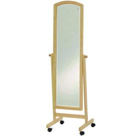 スタンドミラー キャスター付き 幅49mm キャスター 姿見 鏡 全身鏡 全身 姿見鏡 木製スタンド鏡 全身ミラー 飛散防止 木製 スタンド式 木目調 シンプル 80-5035