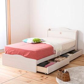 セミダブルベッド 日本製 ポケットコイル 引き出し 収納 レギュラー ベッド カントリー かわいい 収納ベッド ナチュラル ローベッド 送料無料 FMB82-SD-NP