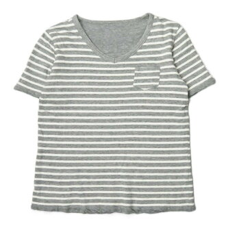 Horizontal stripe reversible V neck T-shirt S12STA13BOY-free gray / white short sleeves cut-and-sew tops made in Sanca x BEAMS BOY Sanka BEAMS Co., Ltd. boy comment Japan