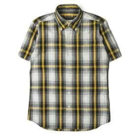 SOPHNET. ソフネット 日本製 チェックショートスリーブBDシャツ SOPH-90037 S グレー/イエロー 半袖 トップス【中古】【SOPHNET.】