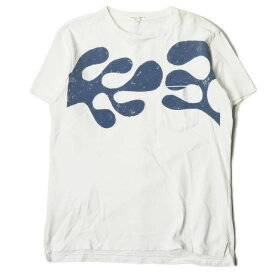 Engineered Garments エンジニアードガーメンツ カナダ製 Printed Cross Crew Neck T-shirt クロスクルーネック ポケットTシャツ S ホワイト 半袖 アメーバ トップス【中古】【Engineered Garments】