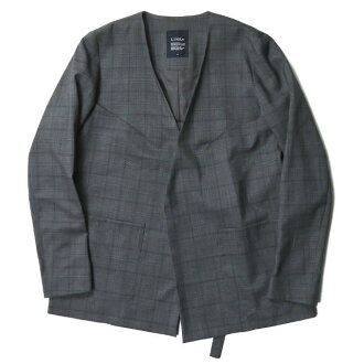 Wool glen check no-collar jacket LH-J08-105 S gray-collar workerless outer made in LIMI feu リミフゥ 19SS Japan