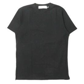L'HOMME ROUGE ル・オムルージュ ポルトガル製 コットンスリットクルーネックTシャツ L(50) ブラック 半袖 無地 トップス【中古】【L'HOMME ROUGE】