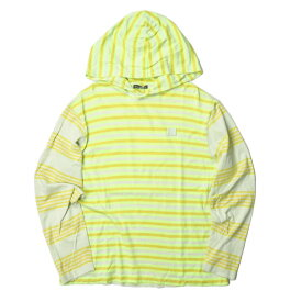 Acne Studios アクネストゥディオズ ポルトガル製 Striped Long Sleeve T-Shirt Hoodie フェイスパッチ ボーダー天竺プルオーバーパーカー FA-UX-TSHI000019 M イエロー Tシャツ トップス【中古】【Acne Studios】