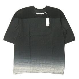 CURLY カーリー 日本製 HORIZON CAP SHOULDER TEE グラデーション染め フットボールTシャツ 181-14041 2 ブラック 半袖 トップス【新古品】【中古】【CURLY】