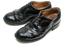 Tricker's トリッカーズ L5943 Derby Shoe エナメルウィングチップブローグシューズ UK5(23.5cm) ブラック【中古】【Tricker's】